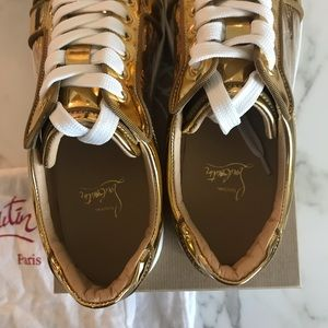 Christian Louboutin Shoes - Louboutin Gold Vieira Orlato Spike Sneakers 40 NIB